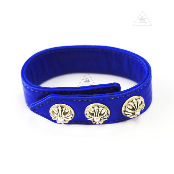 Chrome Hearts 3 Button Azure Blue Leather Bracelet