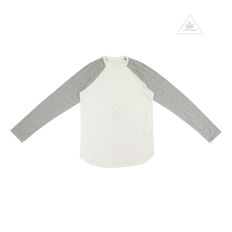Chrome Hearts Cemetery Cross Long Sleeve Tee in Grey and White