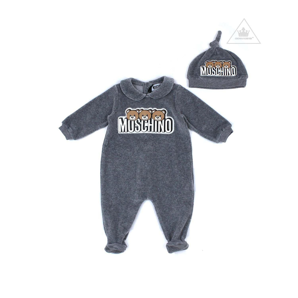 Moschino Kids Baby Footie and Hat Set with Gift Box