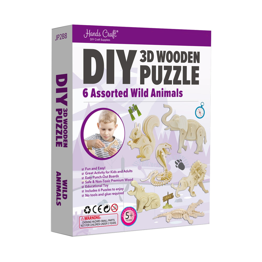 Hands Craft DIY 3D Wooden Puzzle 6 ct, Wild Animals-JP2B8