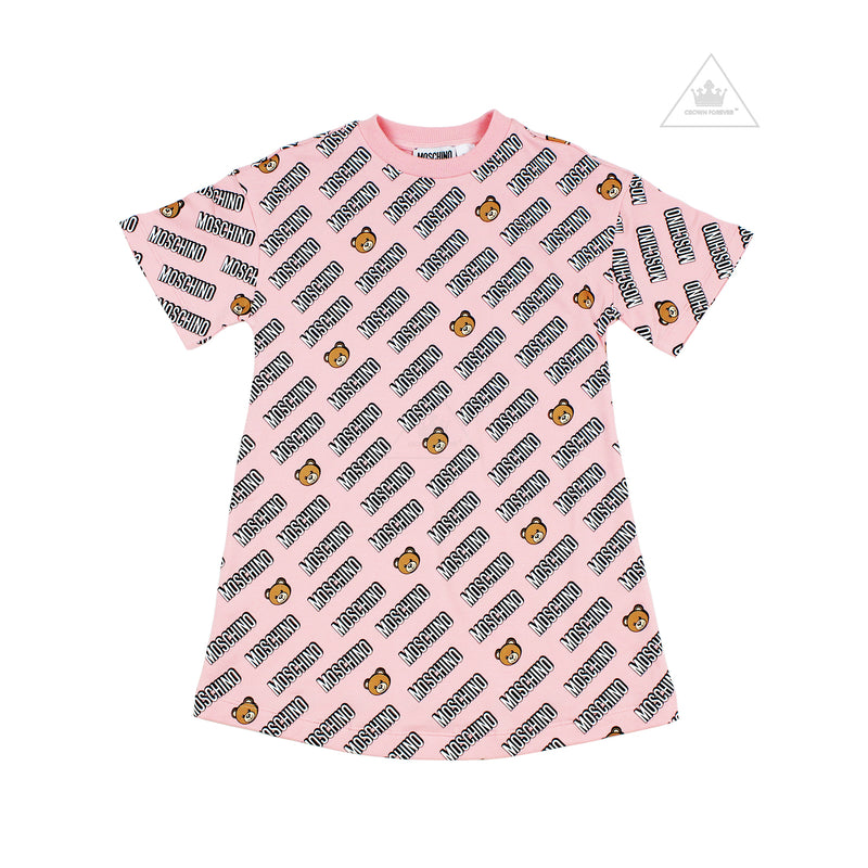 Moschino Kids Girls Dress With Allover Toy Logo Print