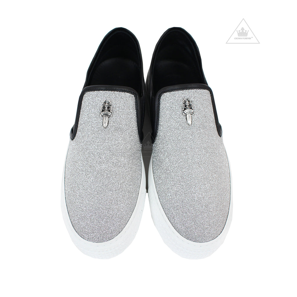 Chrome Hearts Slip On Metallic Silver Dagger Shoes