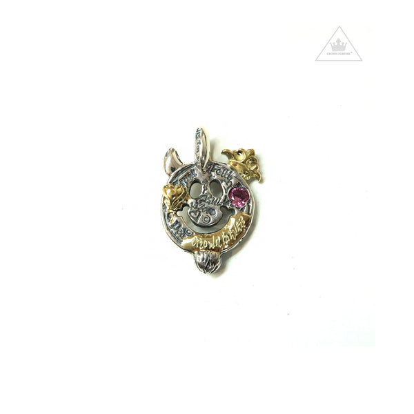 Bill Wall Leather 18K Gold C367GR Graffiti Happy Face Charm with Left Horn & Beard Pink Tourmaline
