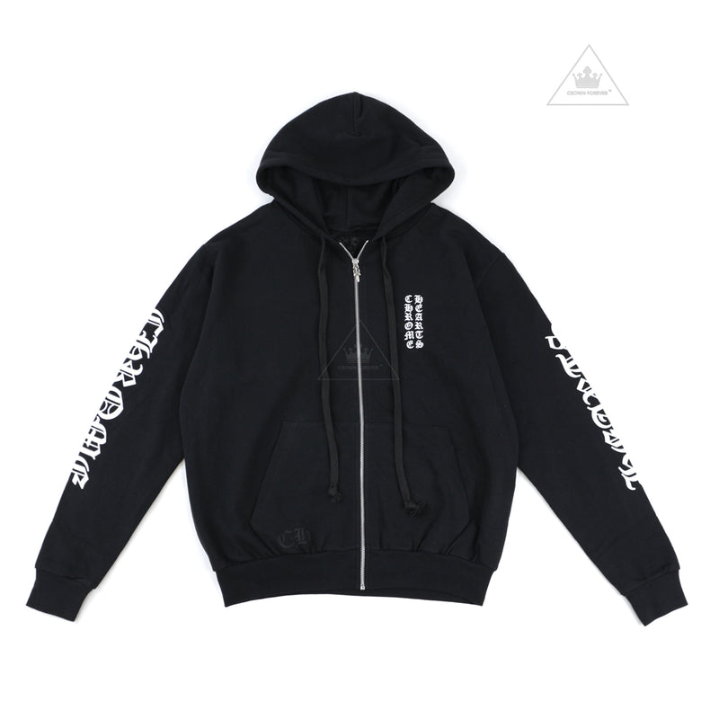 Chrome Hearts Letters Sleeve Fleece Zip Hoodie