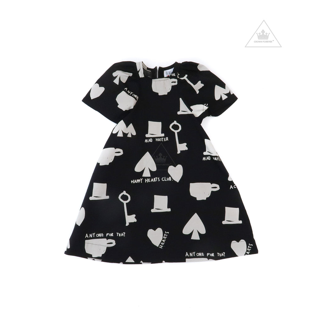 Beau Loves Cotton Dress, Black, Wonderland AOP