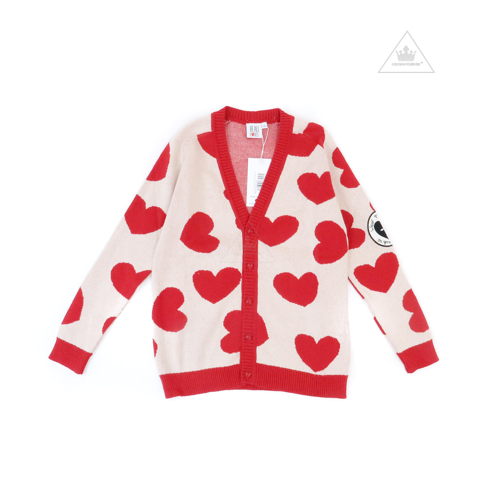 Beau Loves Knit Cardigan, Red, Heart