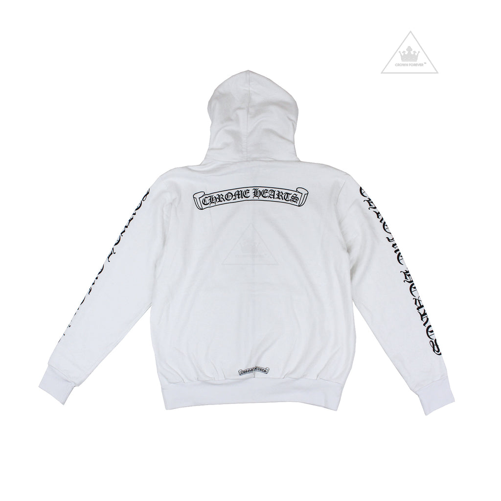 CH Letters Sleeve Label Thermal Zip Hoodie White
