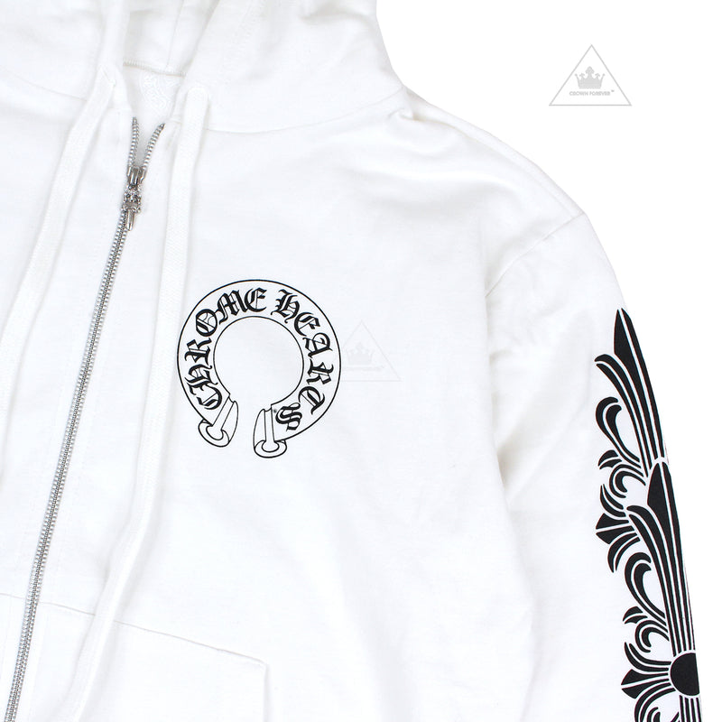 Chrome Hearts Horseshoe Floral Cross Sleeve Zip Hoodie White
