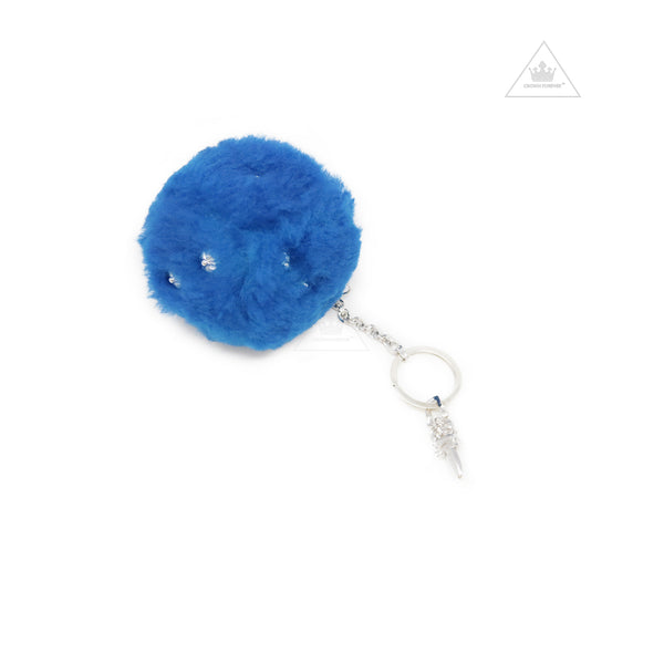 Chrome Hearts Fuzzy Dice Key Ring in Blue Shearling