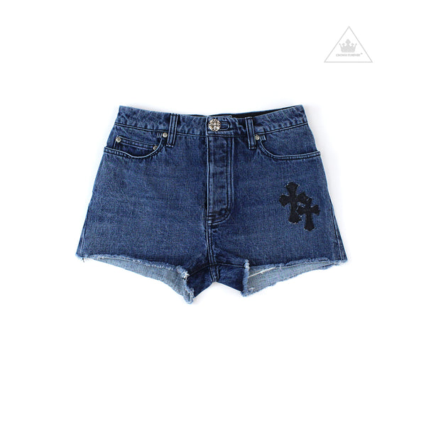 Chrome Hearts Women's Shorts with Scattered Cemetery Cross Patches