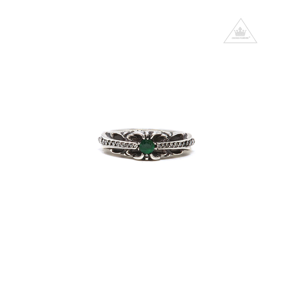 CH Baby Classic Floral Cross Green Diamond Ring