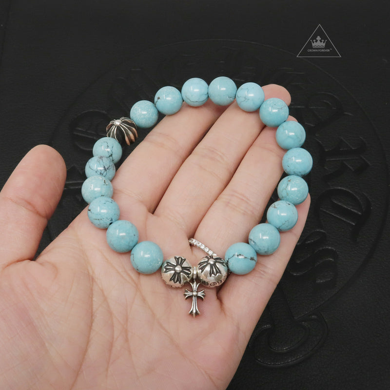 Chrome Hearts Bead Bracelet 10MM V55 Turquoise