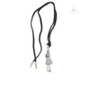 1015- CH Pendant Foti Skippy Black Leather Necklace