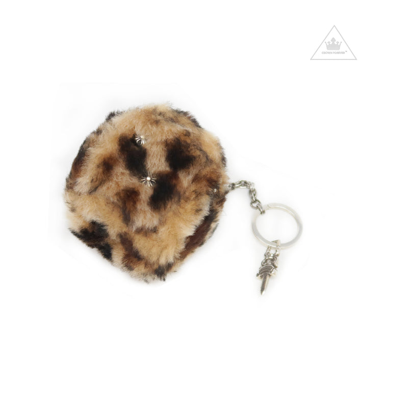 Chrome Hearts Fuzzy Dice Key Ring in Leopard and Shearling