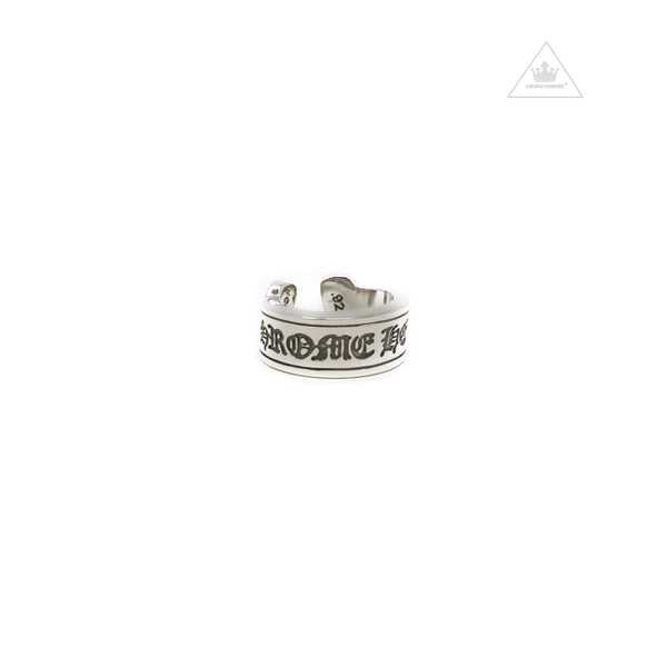 Chrome Hearts Scroll Label Ring in Size Large