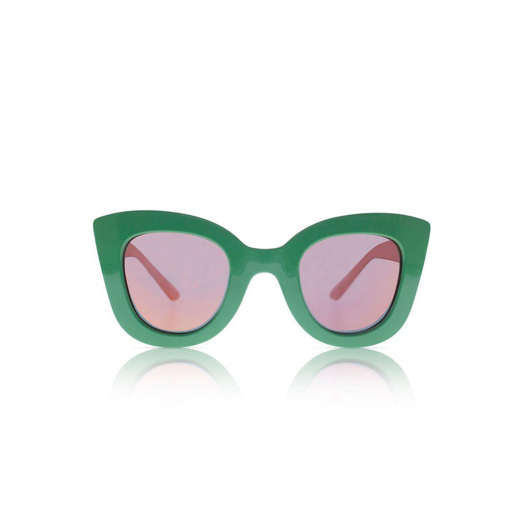 Sons + Daughters Eyewear Cat Cat Clover Green w/ Mirror Sunglasses
