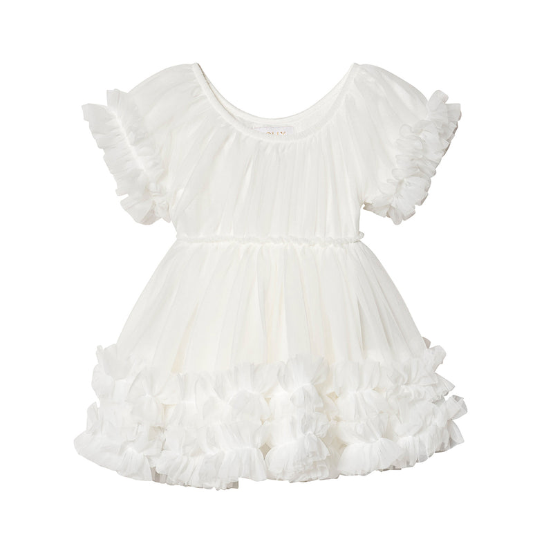 DOLLY by Le Petit Tom FRILLY DRESS off-white