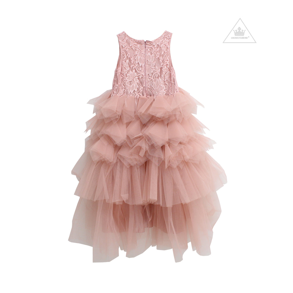 DOLLY by Le Petit Tom LACY DARING HIGH-LOW TUTU DRESS pink