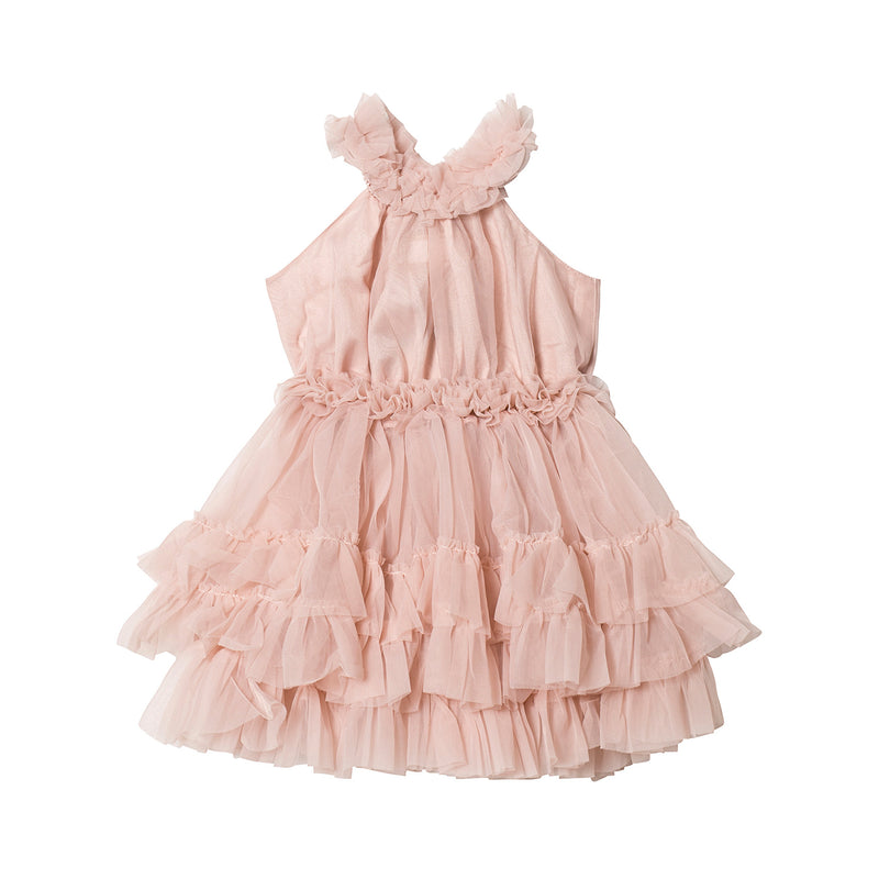 DOLLY by Le Petit Tom RUFFLED CHIFFON DANCE DRESS ballet pink