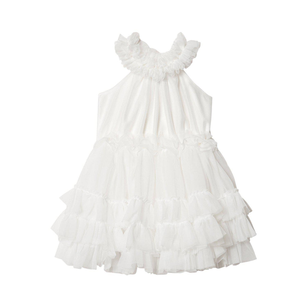 DOLLY by Le Petit Tom RUFFLED CHIFFON DANCE DRESS off-white