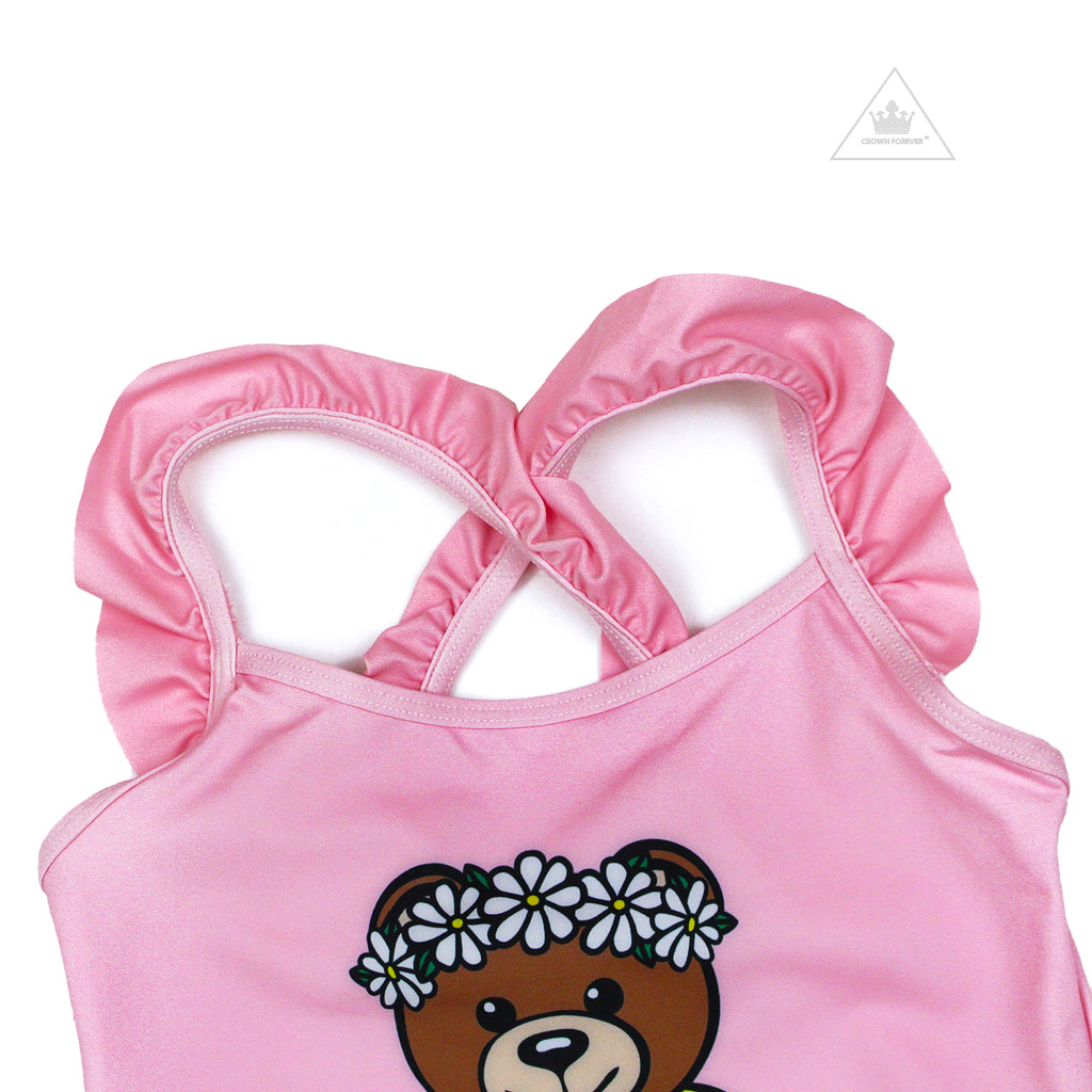 Moschino Kids Teddy Bear Swimsuit With Ruffle Cross Back Pink