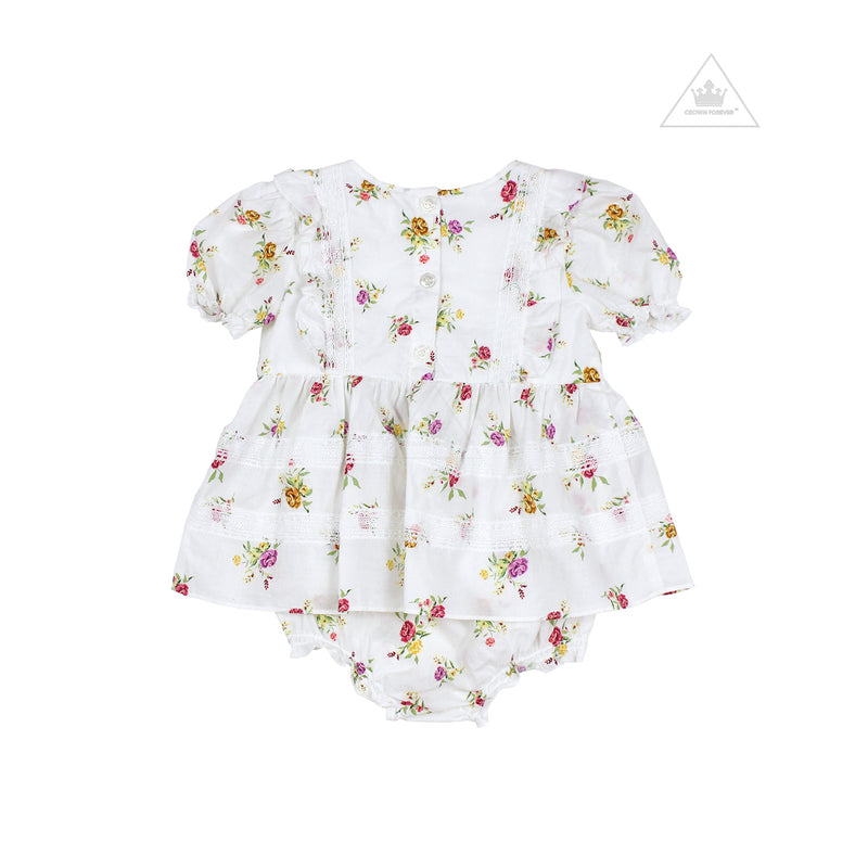 Lil Lemons Wildflower Baby Dress Ivory