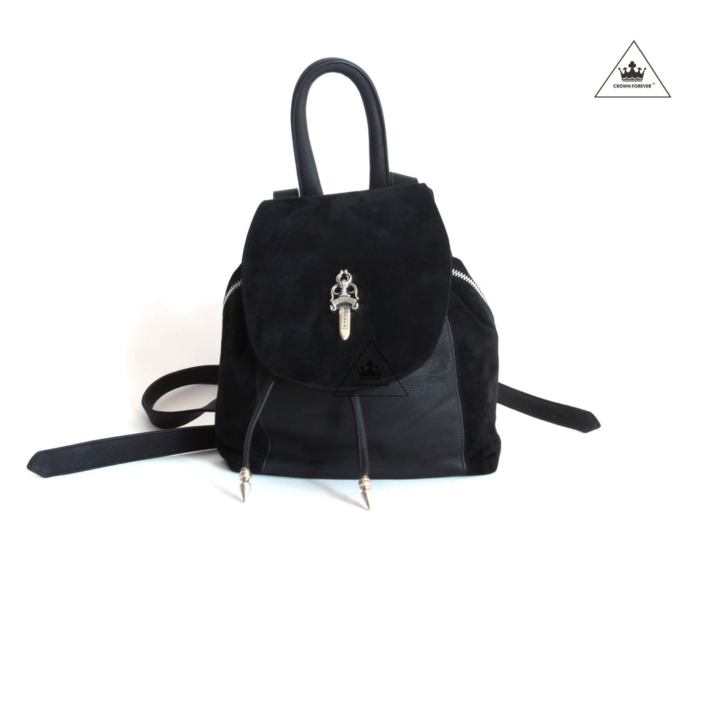 Chrome Hearts Iggy Dagger Black Suede Drawstring Backpack