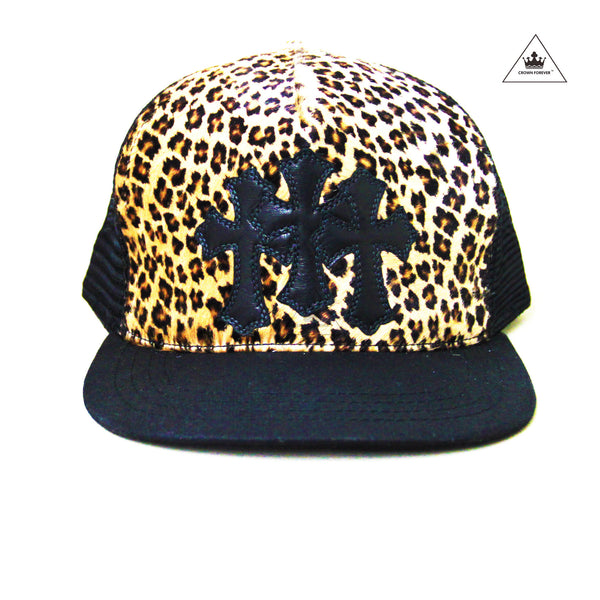 Chrome Hearts Leopard Print Leather Cross Patch Trucker Cap