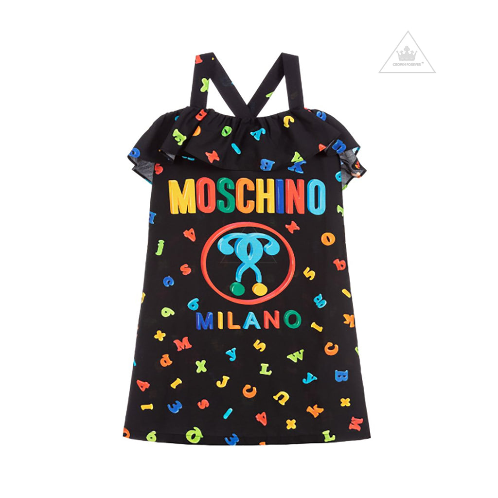 Moschino Kids Girls Mini Me Letters Dress Black
