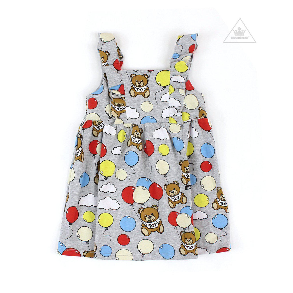 Moschino Kids Sleeveless Dress Bear Balloon Print Grey