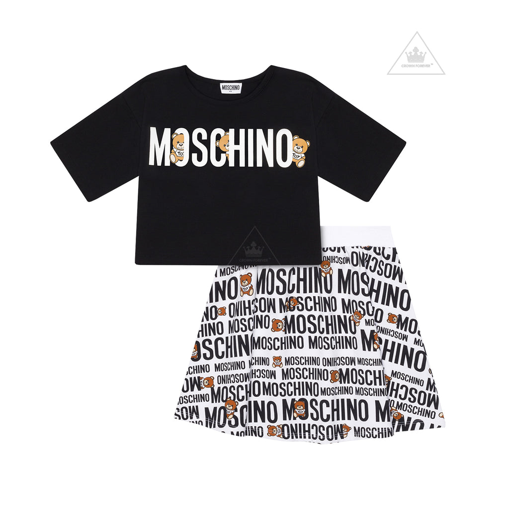 Moschino Kids Girls T-Shirt and Skirt Set White