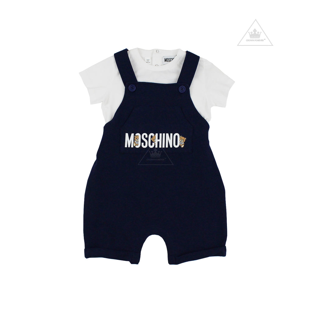 Moschino Baby Tee Shirt Overall Set With Logo