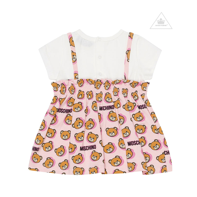 Moschino Kids Girls Allover Print Dress And Knickers Rose