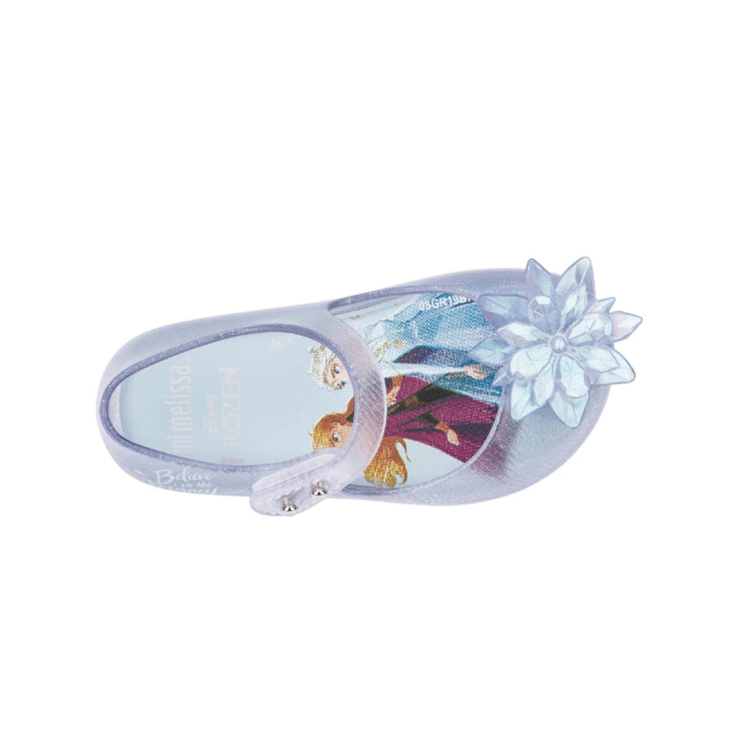 Mini Melissa Mini Ultragirl Frozen 2 Flat Pearl White Glitter
