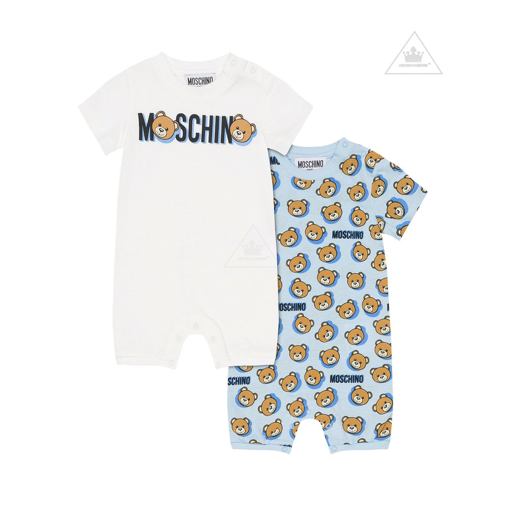 Moschino Baby Allover Print Romper Gift Set Blue