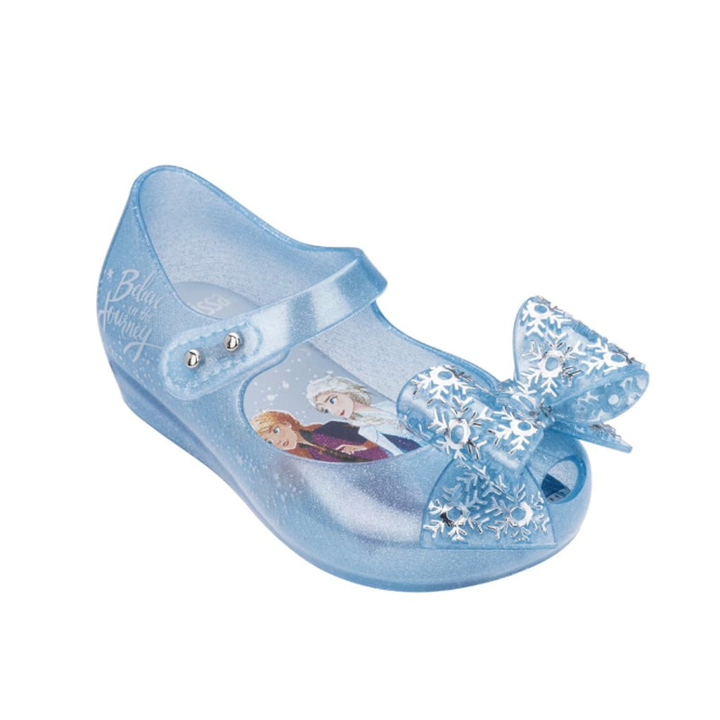 Mini Melissa Mini Ultragirl Frozen Flat Pearl Blue Glitter