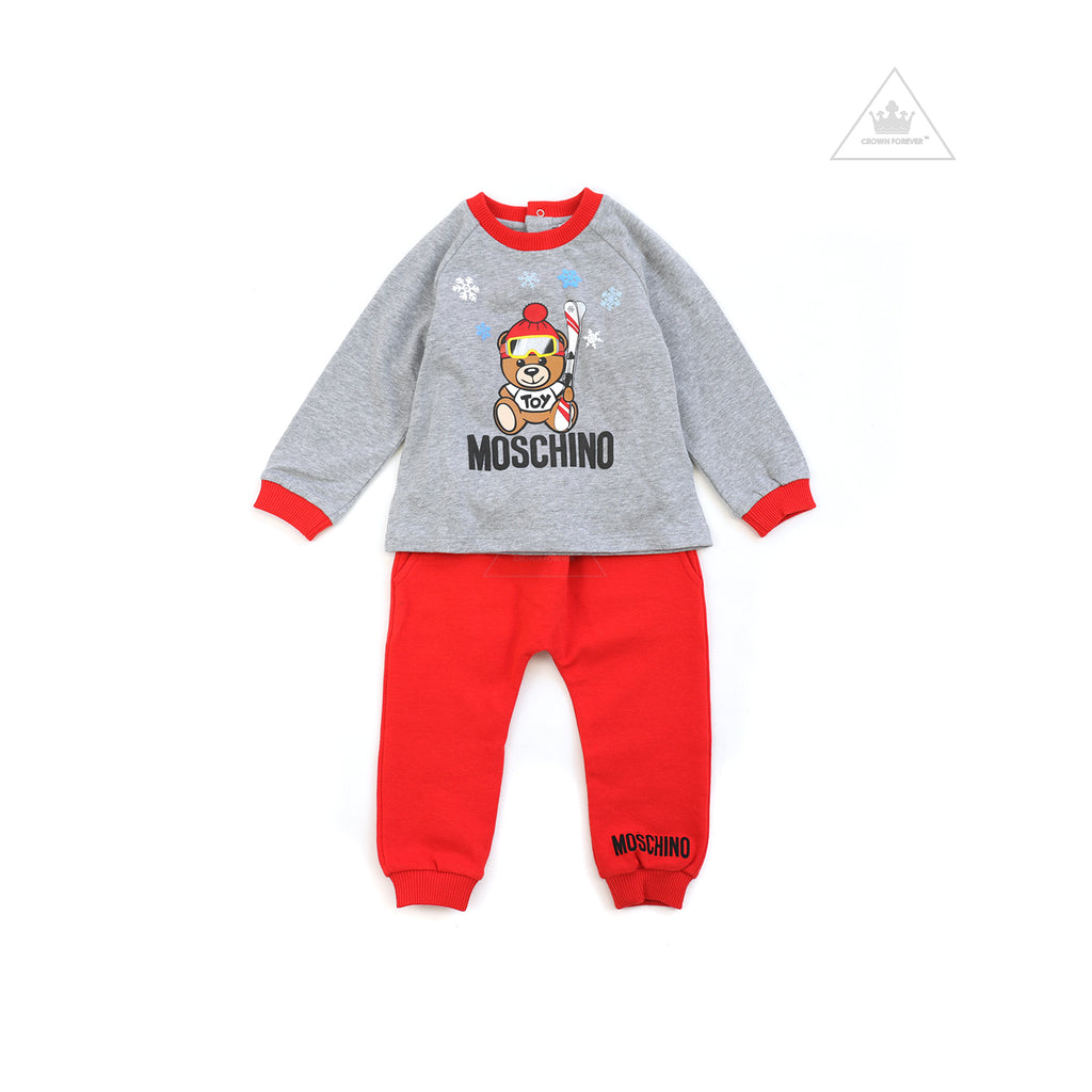 Moschino Baby T-Shirt And Pants Set With Ski Toy Bear