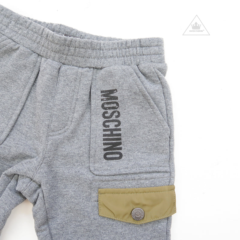 Moschino Baby Boys Pants With Pockets And Logo Grey