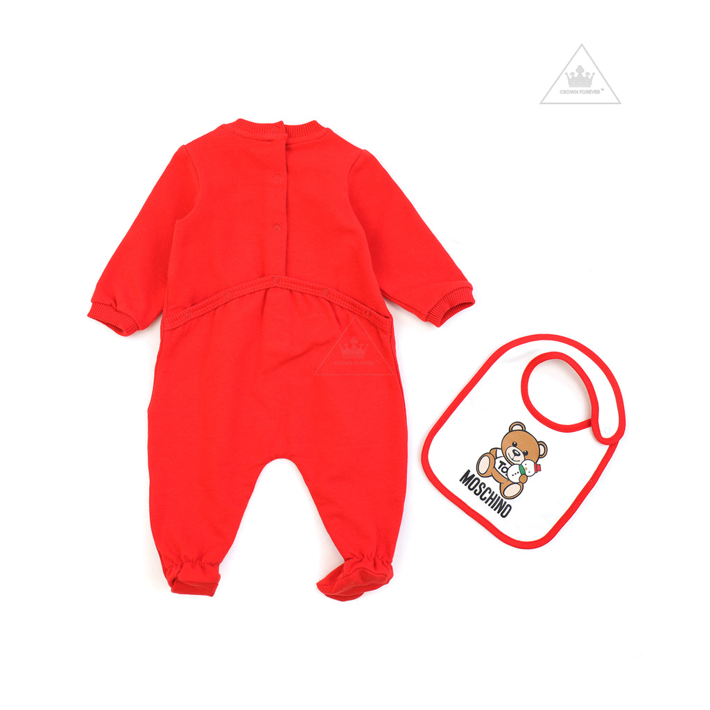 Moschino Baby  Footie And Bib Gift Set With Snowman Toy Bear