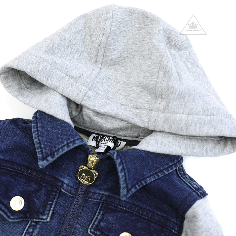 Moschino Baby Hooded Denim Sweatshirt Navy