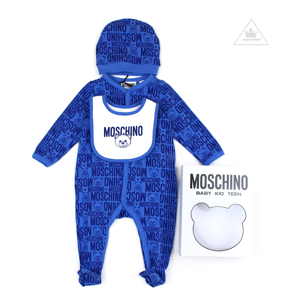Moschino Baby Newborn Teddy Bear All Over Print Footie With Bib Gift Box
