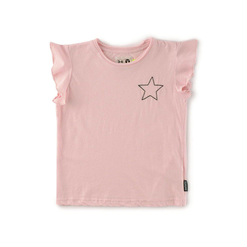 Nununu World Embroidered Star Ruffled Shirt Powder Pink