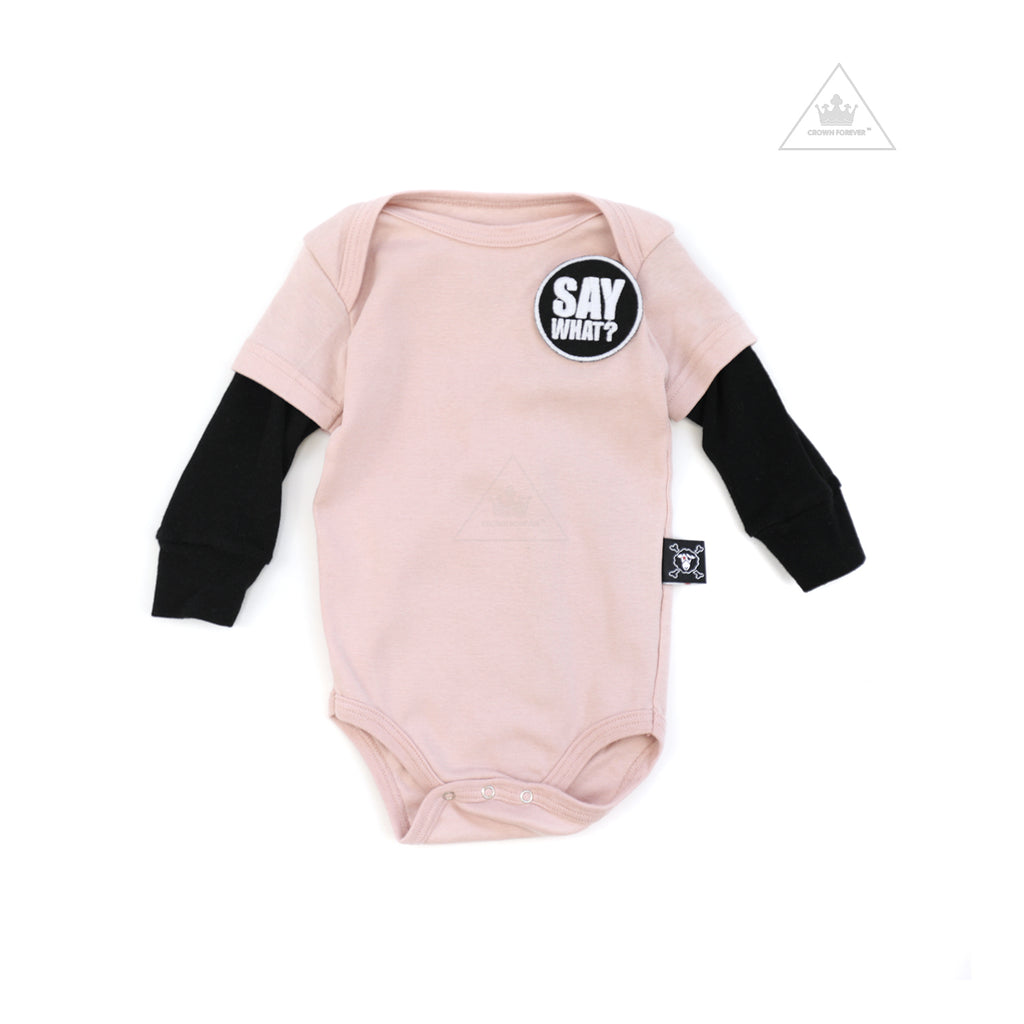 Nununu World Say What? Patch Bodysuit Powder Pink