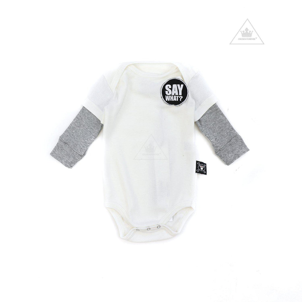 Nununu World Say What? Patch Bodysuit White