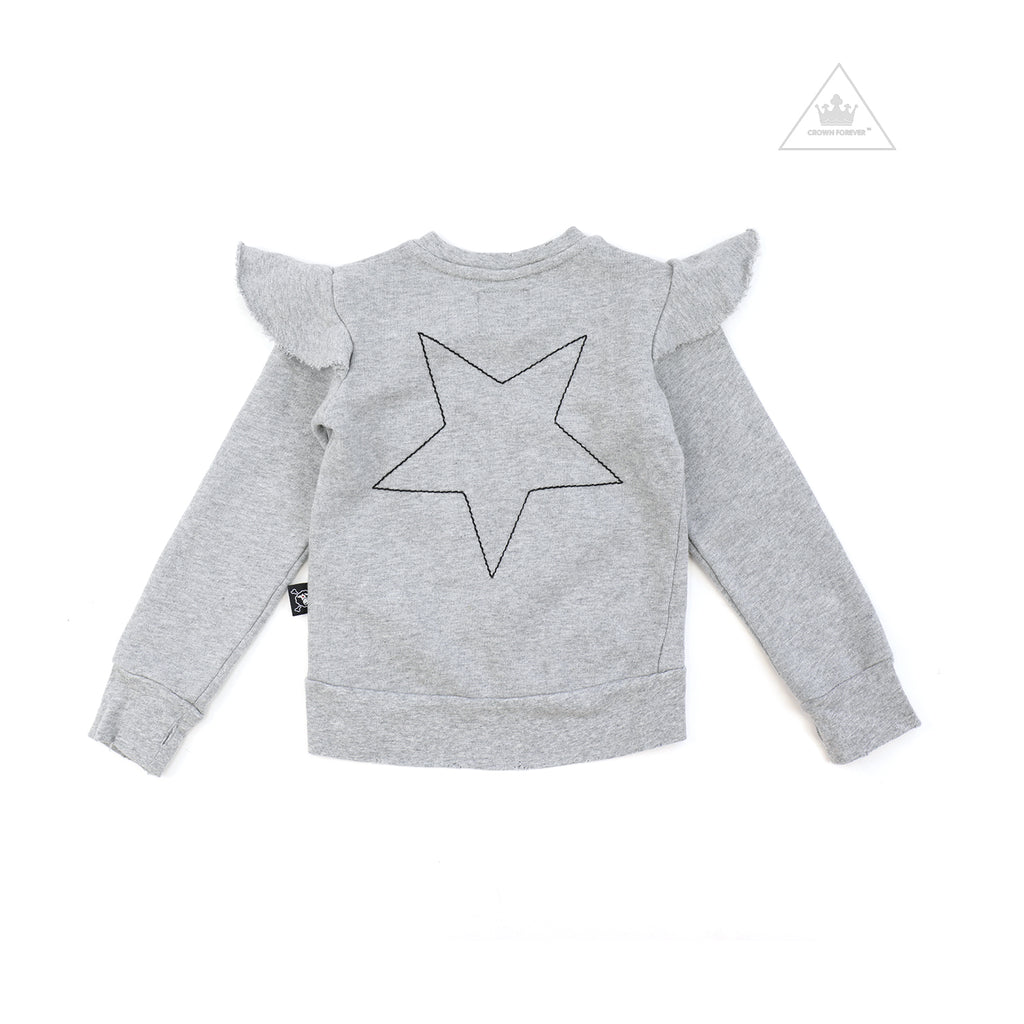 Nununu World Embroidered Star Sweatshirt Heather Grey