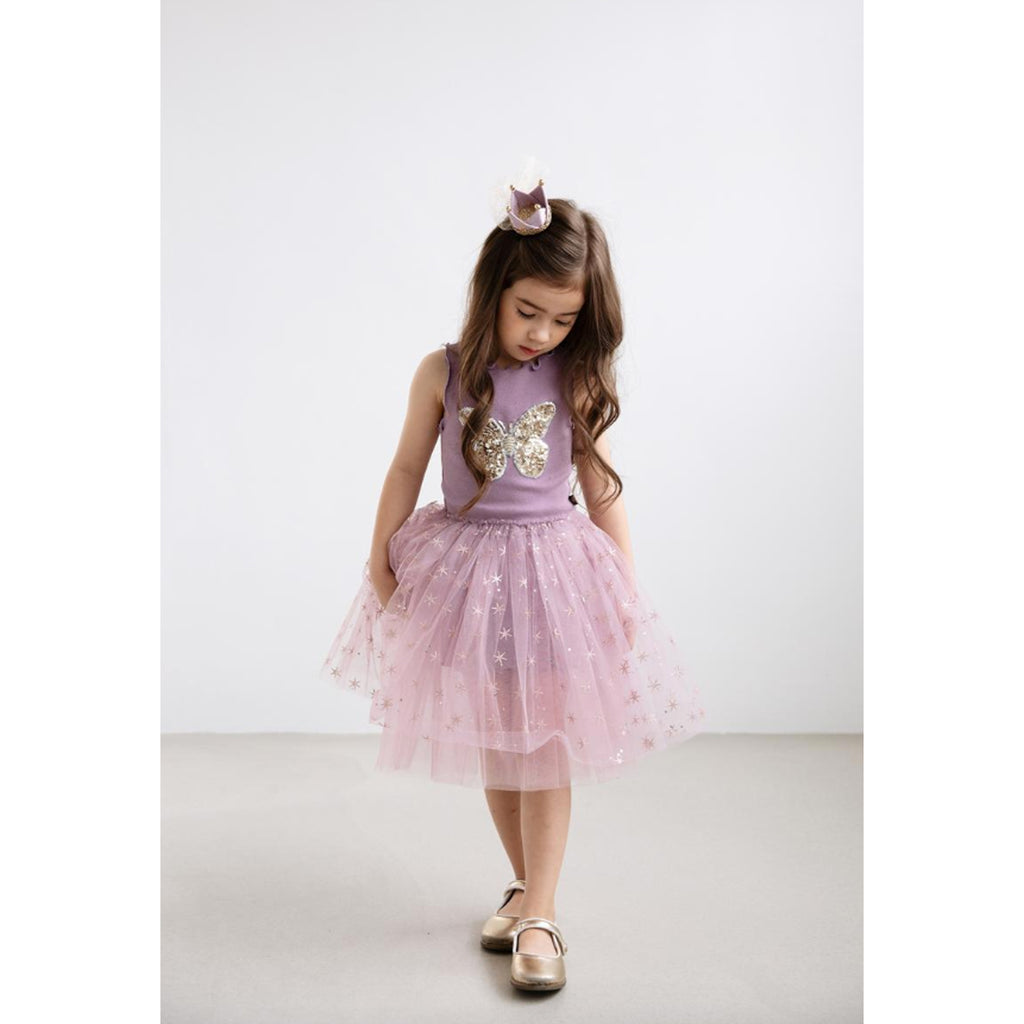 Petite Hailey Butterfly Snow Tutu Dress Orchid