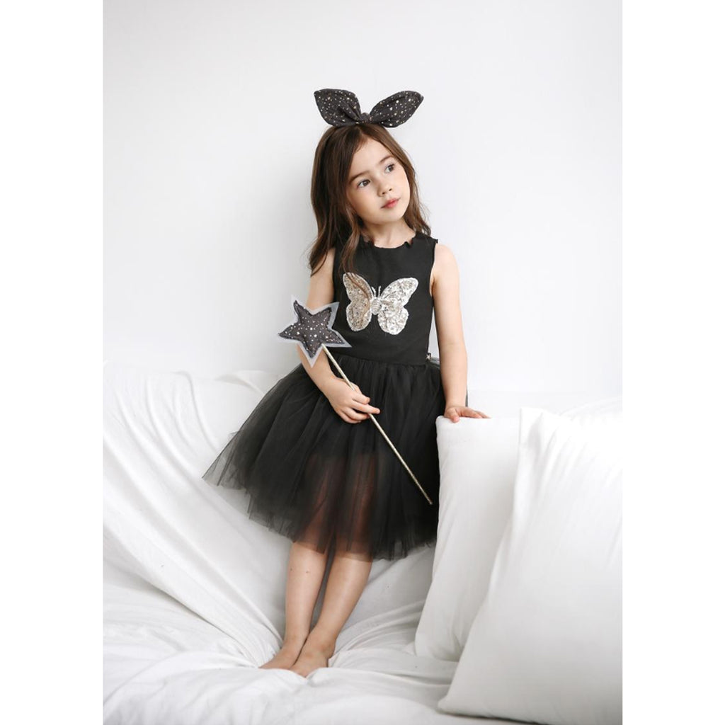 Petite Hailey Butterfly Tutu Dress Charcoal