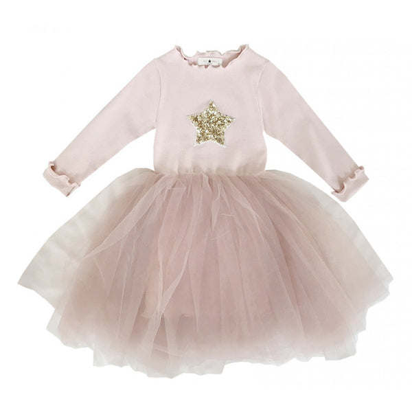 Petite Hailey Tutu Star Dress LS-Pink