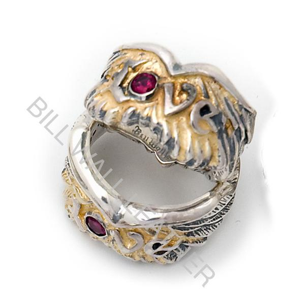 Bill Wall Leather Custom Wing With Love Rings with 18K Gold Solder Ruby