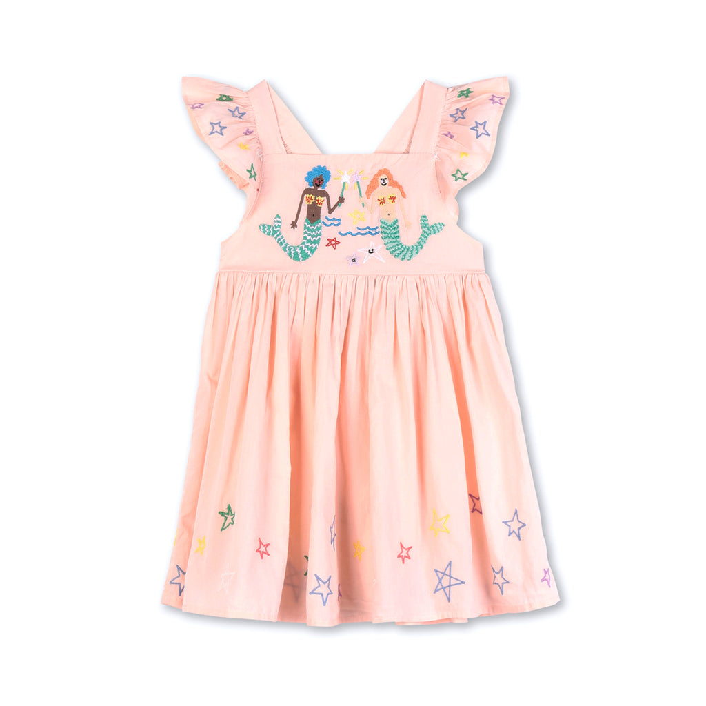 Stella McCartney Kid Girl Mermaids Embroidery Cotton Dress